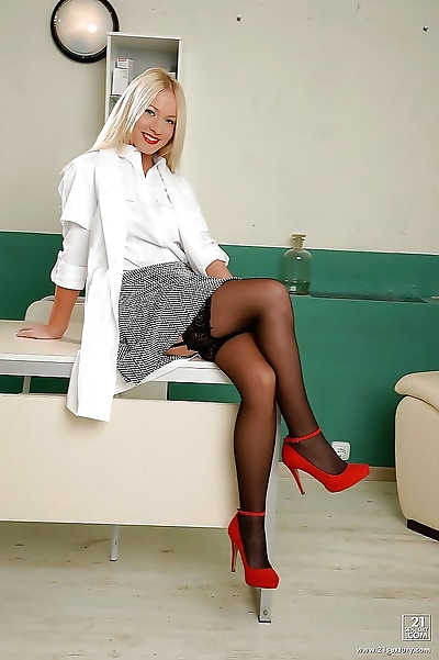 European blonde nurse Kiara..