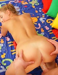 Perky teen in pigtails giving a blowjob and getting pussy boned - part 2191