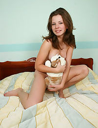 Kimmy gets all cuddly with her toy puppy and with her own body - part 1701