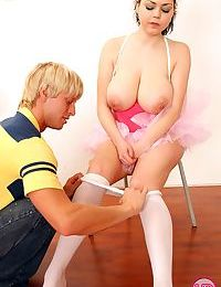Flexible fatty in ballet tutu gives big cock titjob & splits to ride cowgirl